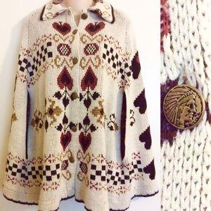 1960s VTG vintage knit button cape